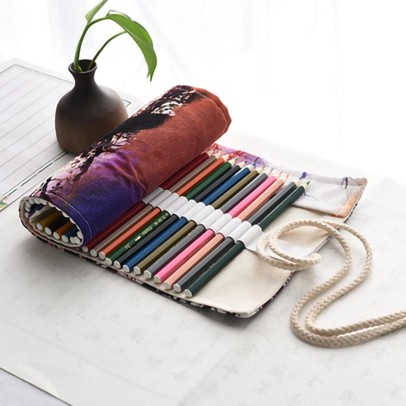 Stationery Canvas Handmade Pencil Case Bags 36/48/72 Holes Roll Pouch Pen Case Office Supplies Storage Box Bag School