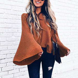 Flare Sleeve Vintage Sweater 2019 New Fashion