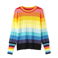 Load image into Gallery viewer, Womens Rainbow Print Kint Jumper Sweater Pullover Jumper Kintwear Match Colors Slim Fit Girls New Arrival