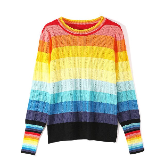 Womens Rainbow Print Kint Jumper Sweater Pullover Jumper Kintwear Match Colors Slim Fit Girls New Arrival