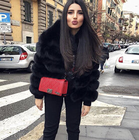FURSARCAR Female Natrual Real Fox Fur Coat With Fur Collor
