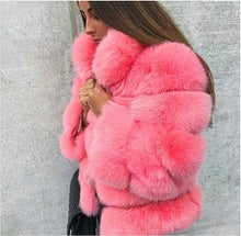 Load image into Gallery viewer, FURSARCAR Female Natrual Real Fox Fur Coat With Fur Collor