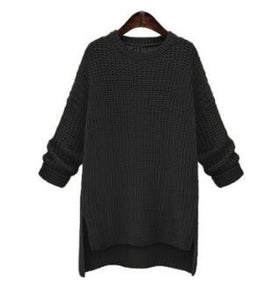 Spring New Fashion Knitted Sweater Women Sweater Loose Short Split Pullovers O-neck Kintwear Coat Cosplay