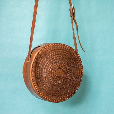 Round Leather Hand Tooled Crossbody Purse