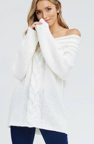 Cream Off Shoulder Sweater