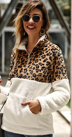 Leopard pullover Sherpa