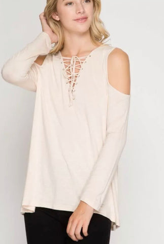 Beige Open Shoulder Top