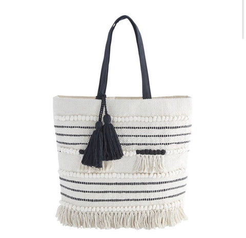 Mud Pie Handloomed Tote Cream