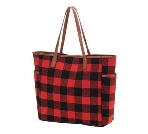 Red Buffalo Check Tote