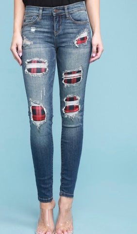 Plaid Patch Jeans