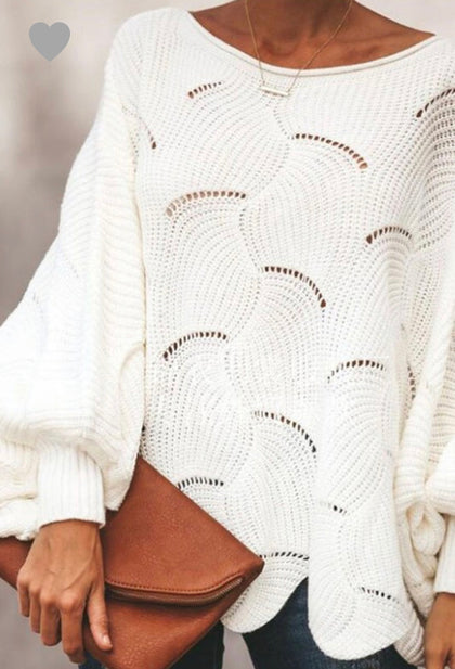 White Scallop Sweater