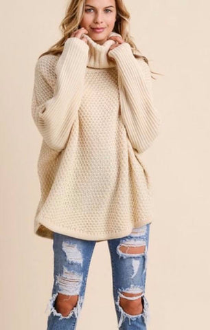 Beige Cowl Neck Sweater