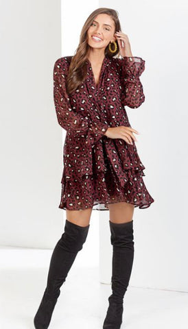 Burgundy Leopard Flounce Dress