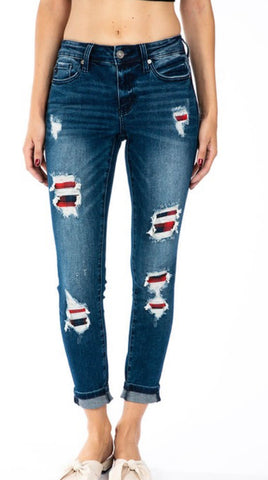 Kan Can Plaid Patch Jeans