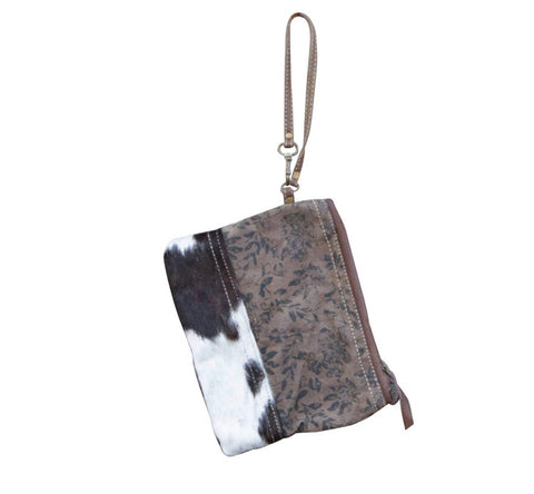Hairon Leather Floral Wristlet