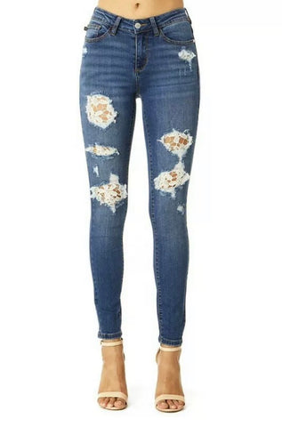 Judy Blue Lace Patch Skinny Denim Jeans