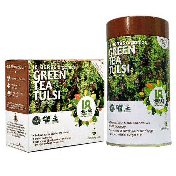 18 Herbs Organics Green Tea with Tulsi