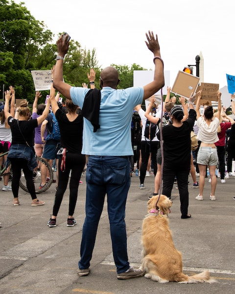 Black Lives Matter man with hands up and dog