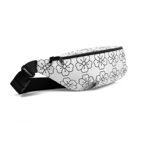 black flower Fanny Pack