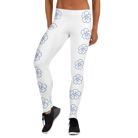 blue flower sport Leggings