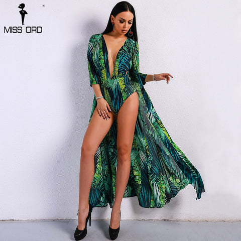 2020 Summer Maxi Beach Rompers Boho Green Deep V Playsuit