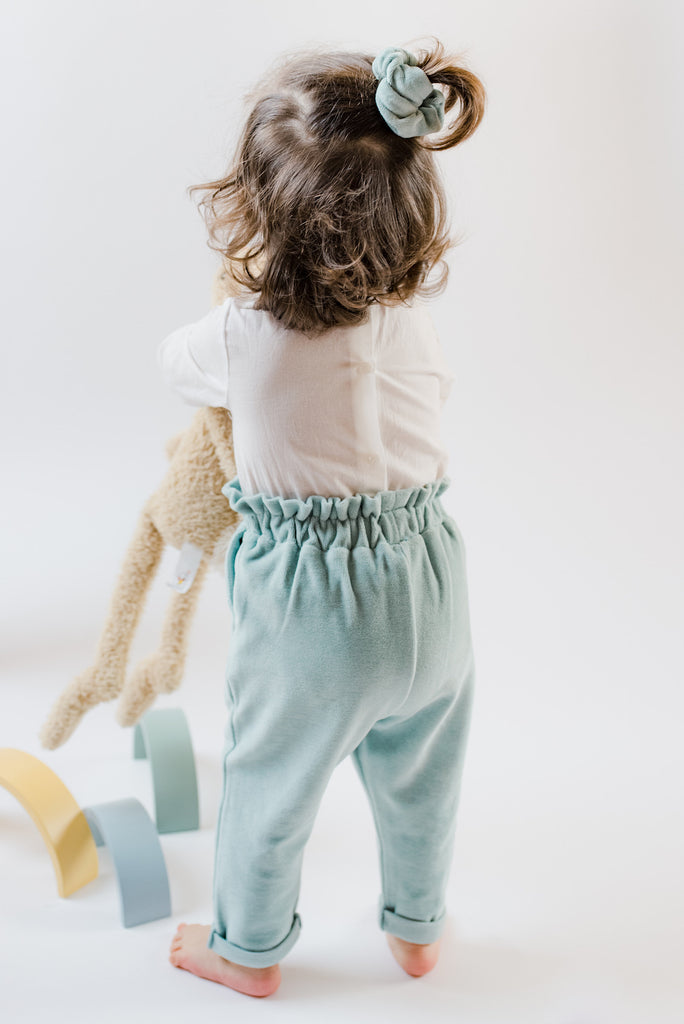 High Waisted Baby Trousers Aqua Velour