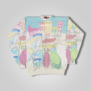 80s 90s Chaps Ralph Lauren All Over Print Venetian Sweatshirt