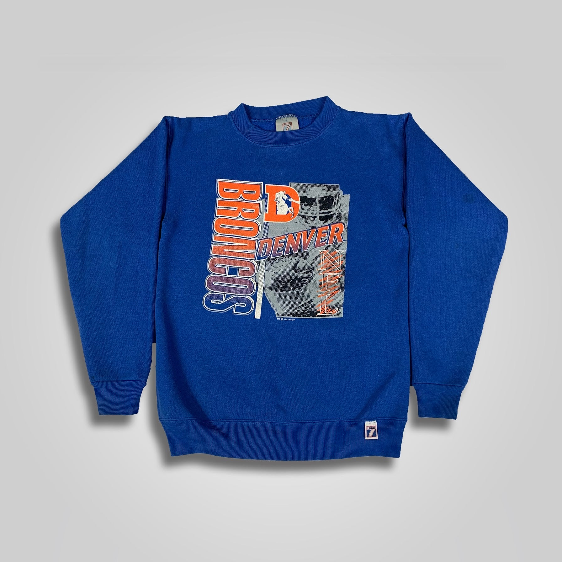 1992 Logo 7 Denver Broncos Spell Out Crew Neck Sweatshirt