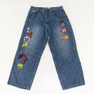 90s Y2K Paco Sport All Over Patch Baggy Jeans
