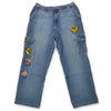 Y2K Raw Blue First Team Patch Jeans