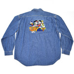 Load image into Gallery viewer, 90s Disney Characters Embroidered Denim Shirt