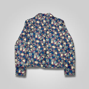 90s UnCivilized The World Geometric Pattern Button Up Shirt