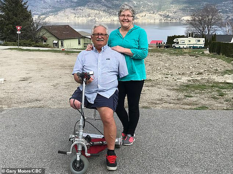 Stearn Hodges with his wife amputee refused at airport because of lithium battery for wheelchair
