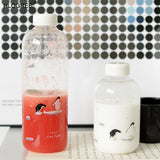 HLOGREE 1000ml Penguin Glass Water Bottle with Sleeve Creative Sport Bottles Camping Bottle Tour Drinkware