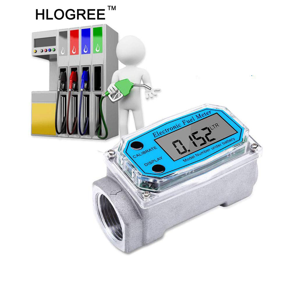HLOGREE Digital Turbine Flow Meter with NPT Counter for Measure Diesel, Kerosene, Gasoline, 1″ Digital LCD Display