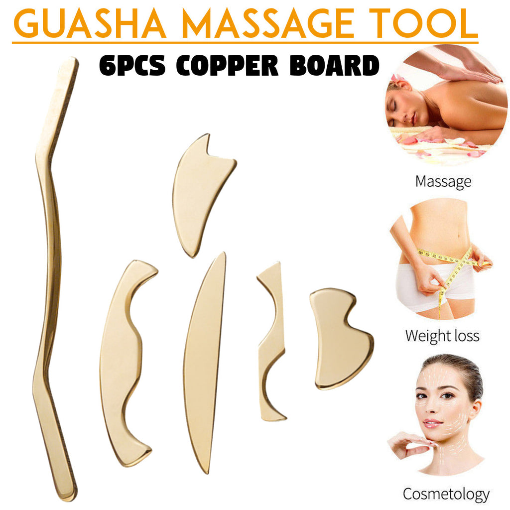 6pcs/set Pure copper Scraping Board Set Low Magnetic Physiotherapy Body Scrapper Massage Plate Massage Relaxation Guasha Kit