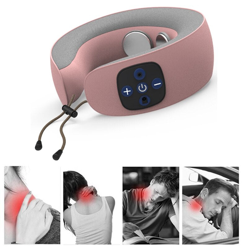 Electric Pulse Back Neck Massager Health Care Relaxation Tool Intelligent Cervical Massager Far Infrared Heating Pain Relief