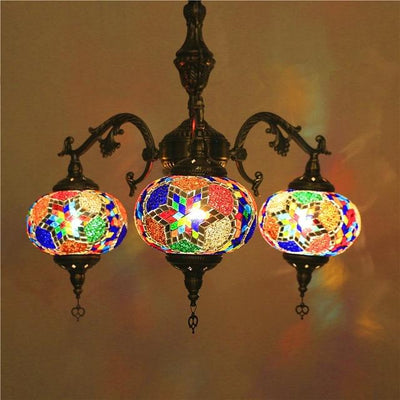 Bohemian Turkish Moroccan Chandelier Handmade Mosaic Stained Lamp - lytebright
