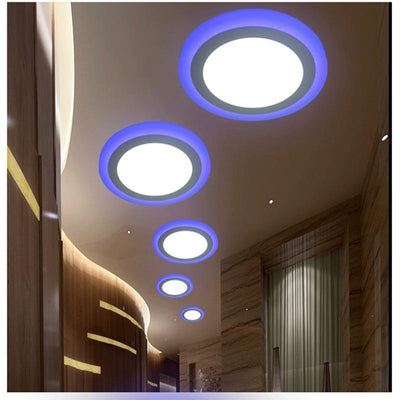 Round Double Color Cool White+Blue Led Ceiling Lights, Ultrathin Led Recessed Lighting - lytebright