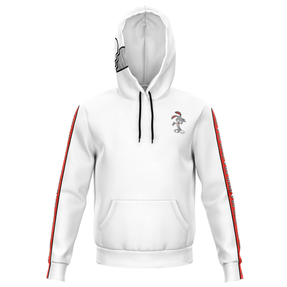 Heart Heart Strip Hoodie - White/Red