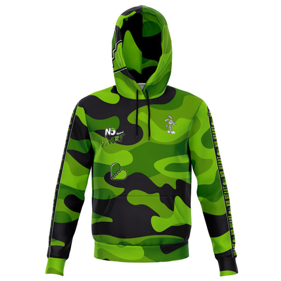 No Heart Strip Hoodie- Green Camo