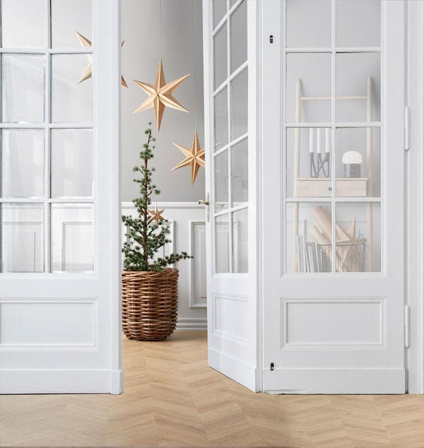 Kerstster Hout Deco 65 x 12 x 65 cm Nature