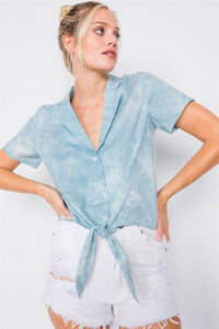 Blue V-neck Front Knot Short Sleeve Tie Dye Crop Top