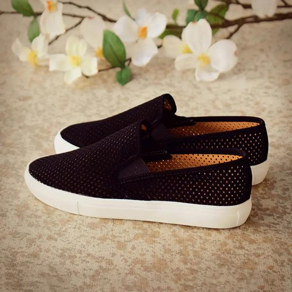 Womens Summer Casual Hollow Out Breathable Knitting Fabric Slip-On Sandals Daily
