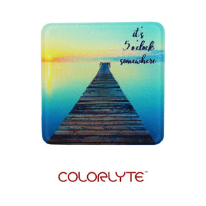 "DyeTrans Sublimation Blank Glass Coaster - 3.94"" - Square w/Chinchilla Finish"