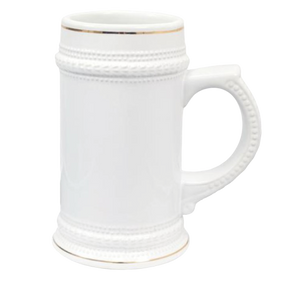 22oz Ceramic Beer Stein with Gold Trim