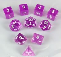 Transparent 10pc Cube Orchid/White Dice | LA Mood Comics and Games