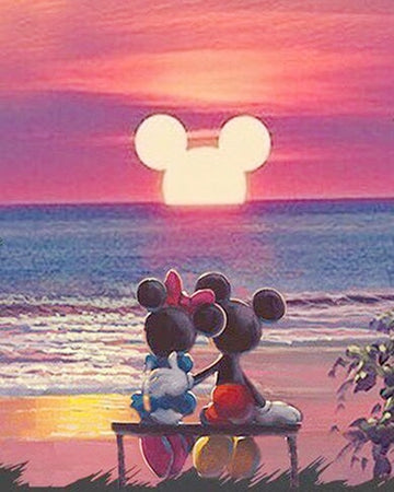 Minnie & Mickey Mouse - Sunset - 5D Diamond Painting Kit