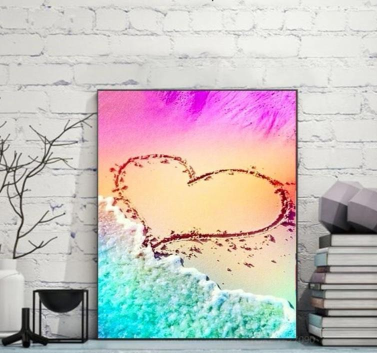 Colourful Love Beach - 5D Diamond Painting Kit - Round Drill