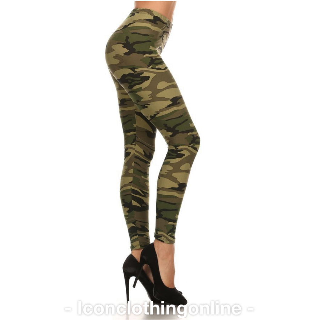 Camouflage print full length fitted